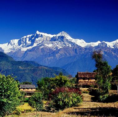 Annapurna beyond a village