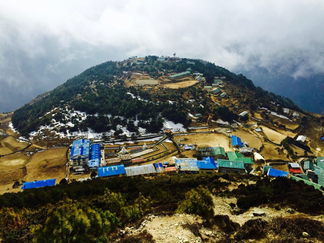 View of the Sagarmatha Headquarters, above Namche Bazaar, Himalayas, Nepal