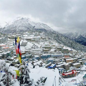 Overlooking snow-covered Namche Bazaar, Nepal