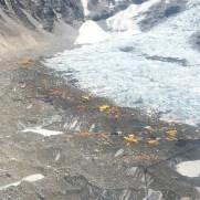 Helicopter flight over Everest base camp and the Khumnu Glacier