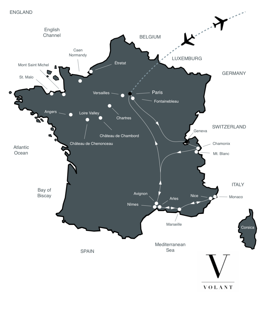 Best of Southern France Tour Map | Volant