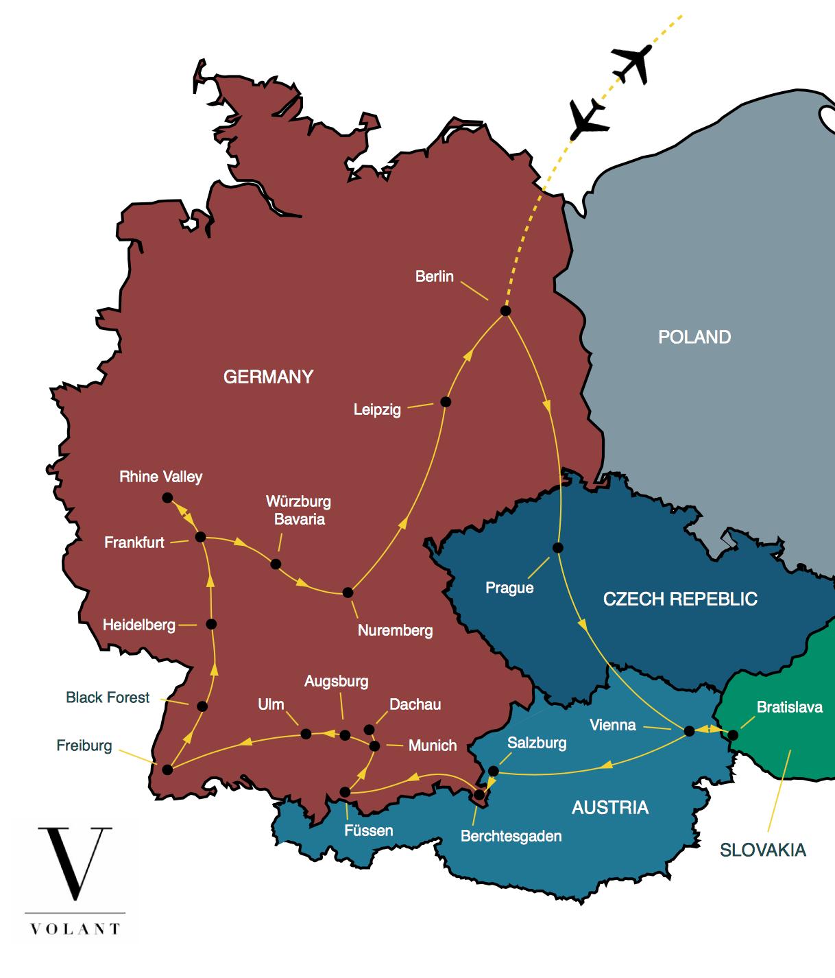 Germany Austria Tour Map Volant Volant Travel