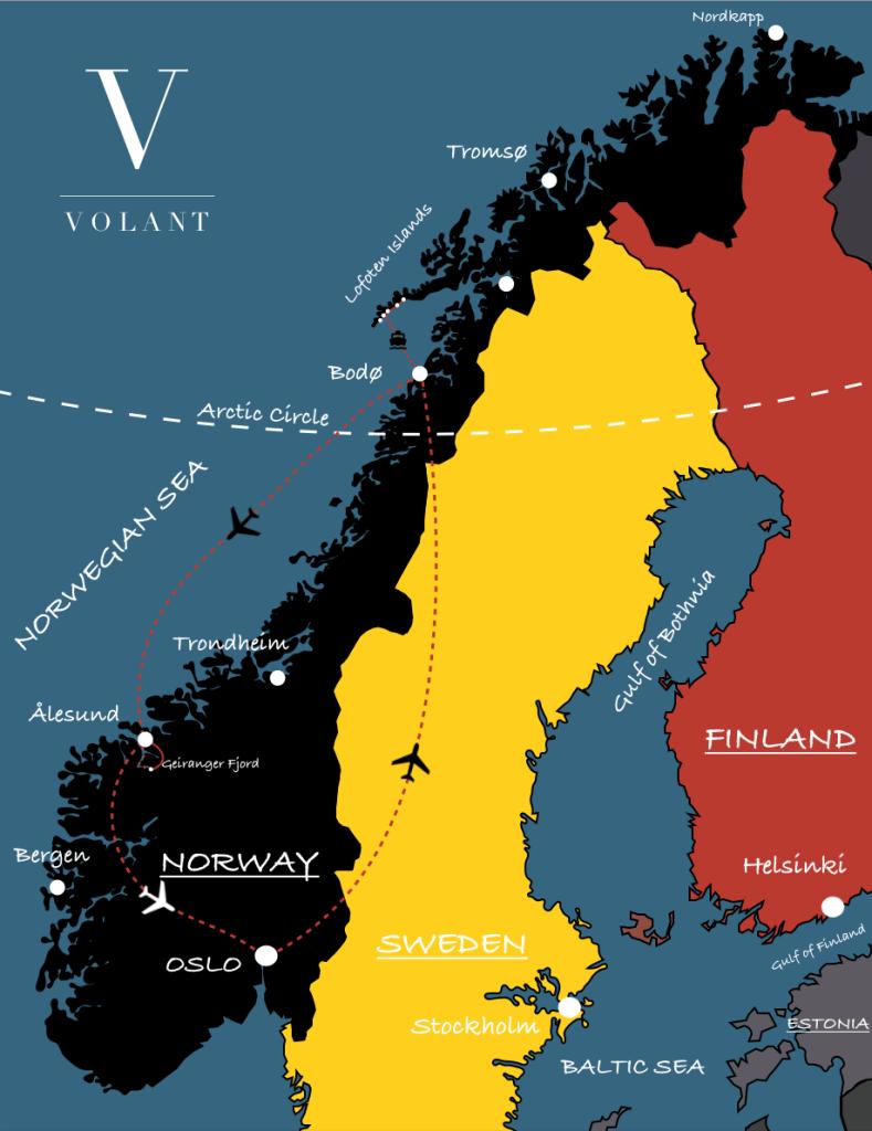 Lofoten Islands, Norway Trekking Guided Tour Map | Volant Travel