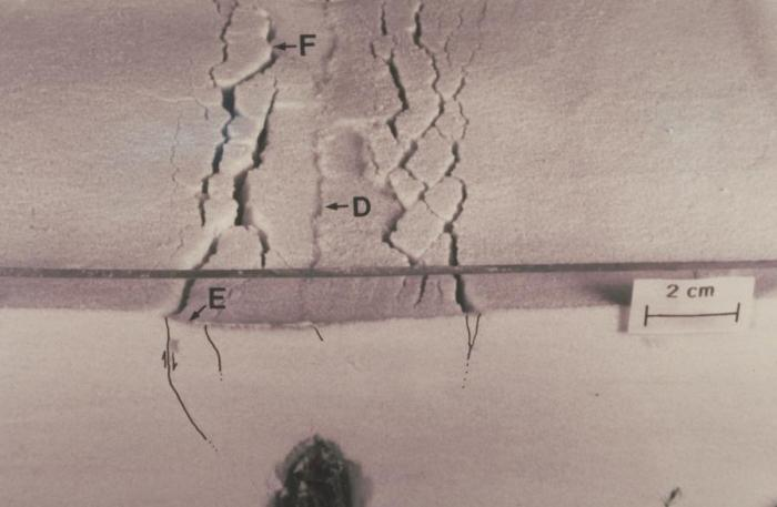 Photograph of fractures and subsidence that occurred in a flour mixture when a simulated dike was forcibly widened (dark area, bottom), similar to cracking that occurs at the surface above intruding m