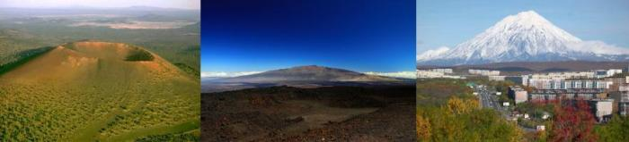 Three types of volcanoes from left to right (all images WikiMedia): - Sunset Crater, Arizona, a 340 m high monogenetic cinder cone - Mauna Kea, Hawaii, a 4,205 m high shield volcano - Koryaksky, Russia, a 3,456 m high stratovolcano overlooking the city of Petropavlovsk, Kamchatka