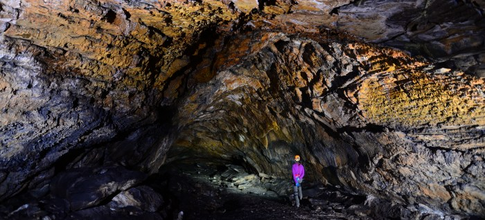 "Now a tourist attraction, this lava tunnel at Medicine Lake Vovlcano / Lava Beds National Monument in one of the 20 ""developed"" caves of the more than 700 such throughout the National Monument. (National Park Service)"