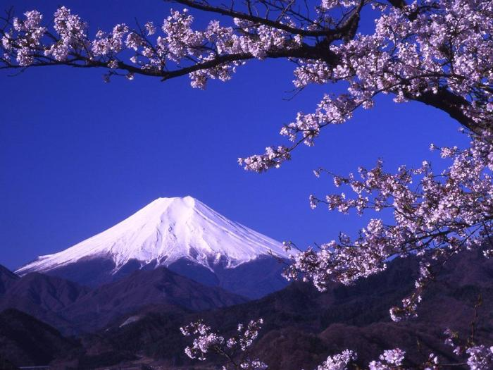 Mount Fuji, Japan. This 3,776 m high (a.s.l. & prominence) Holy mountain of Japan is the quintessential stratovolcano. (http://hqwallbase.com, true provenance of picture uncertain)