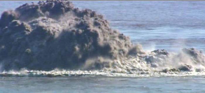 "Minor explosion at ""Bob"", south of La Restinga, El Hierro, on November 8th, 2011. The ash content is evident. (Television Canaria)"