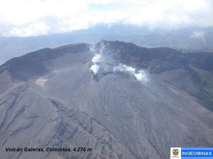 Instantly obvious from the birds-eye view although not readily apparent from ground level, Galeras in Colombia is another volcano to have suffered several flank collapses in the past. Long-term extensive hydrothermal alteration has contributed to large-scale edifice collapse on at least three occasions, producing debris avalanches that swept to the west and left a large horseshoe-shaped caldera inside which the modern cone has been constructed. (Ingeominas photograph)
