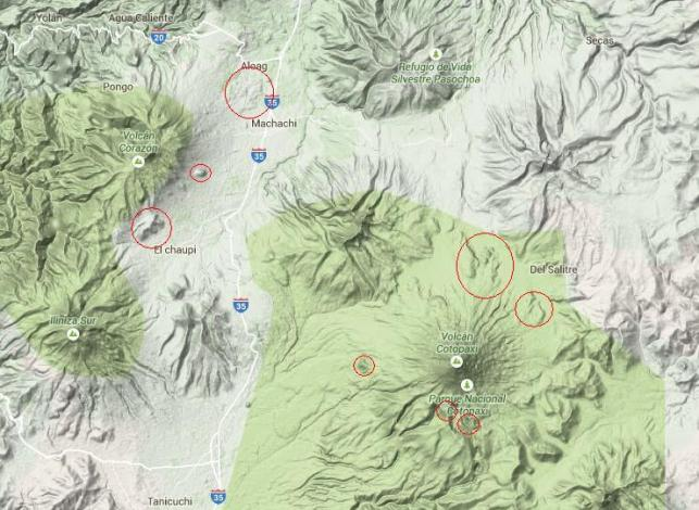 The terrain of Volcán Corazón, Ruminahui and Cotopaxi. Features suggestive of toreva blocks and debris avalanches have been circled with red. Please note that these are my impressions, not scientific fact resulting from in-the-field investigations, and could thus be wrong!