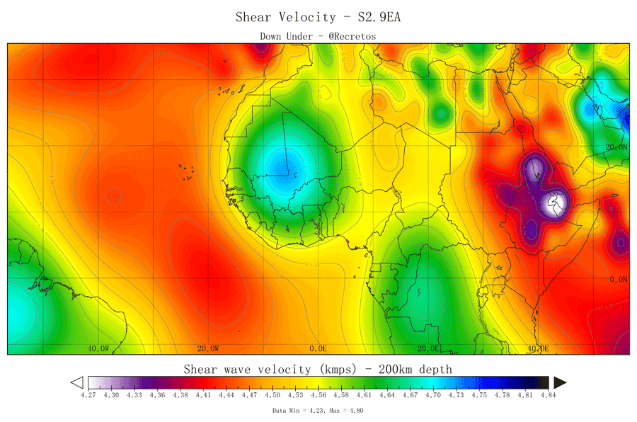 Tomographic map of 200km depth. Do note the position of the African Superplume and keep track of it. No Visible signs of a hotspot here at CVL. Image made by DownUnder for Volcanocafé.