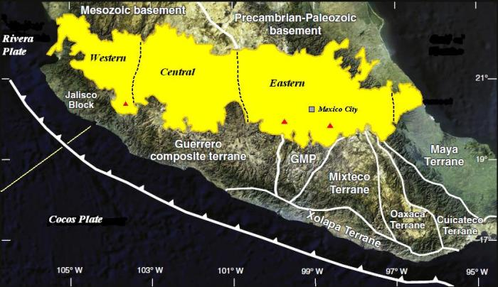 "The extreme southern end of the North American Plate where it slides over the Cocos and Rivera plates. The extreme end is made up of at least seven terranes"" or pieces of crust that have been joined together into one larger heterogenous bloc. GMP is the abbreviation for the Guerrero-Morelos platform. (Modified from Ferrari et al 2012)"