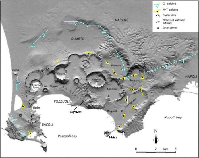 The raw terrain of the Campi Flegrei – Naples area where the approximate outlines of the calderas formed by the 39 kA Campanian Ignimbrite Eruption and the subsequent 15 kA Nepolitan Yellow Tuff Eruption have been outlined. The names of some of the subsequent eruptive centres is also rendered. (Based on map found years ago at the now defunct address ars.els-cdn.com, origin unknown.)