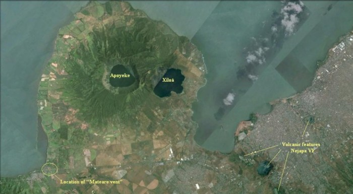 Chiltepe Peninsula with Managua city to the right.
