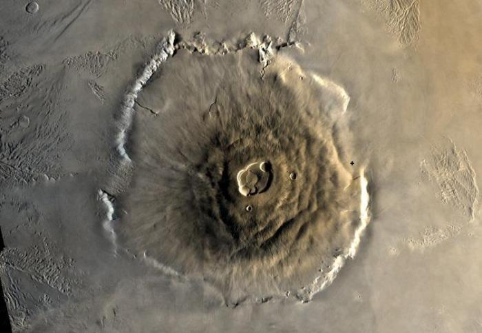 Olympus Mons, the largest known volcano in the solar system. With a relief (prominence) of 22.5 km, it stands up to 26 km above some areas of the surrounding plains due to the in places up to 8 km high escarpment. An approximate conical volume of Olympus Mons is 2.2 million cubic kilometres. The actual figure is well in excess of 3 million cubic kilometres and even greater if the effects of crustal deformation and loss of the outer perimeter are taken into account. In comparison, the conical volume of the entire Island of Hawaii as counted from the seafloor is a mere ~175,000 cubic km, only 7.93% of the conical approximation for Olympus Mons and possibly as little as ~3% of the true volume. The location of the 2067 expedition Base camp is shown by a cross to the right. (NASA)