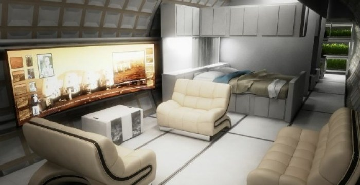Fig 3. Living quarters as envisaged by the Mars One project. (Artist's concept, Mars One)