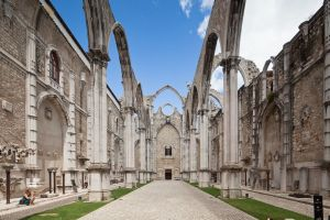 The ruins of Carmo Convent, Lisbon, destroyed in 1755