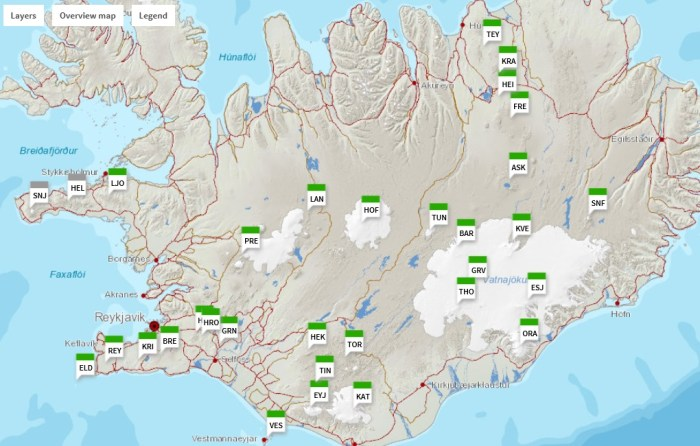 Location of almost all of the volcanoes in this guide to Icelandic Volcanism. It lacks Hamarinn, Herdubreid, Kistufell, Upptyppingar and Vatnafjöll. Image courtesy of the FutureVolc Project.