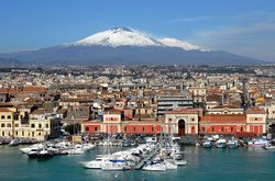 Etna, with endangered Catania in the foreground
