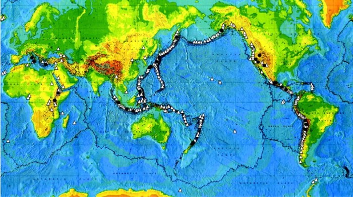 World map showing sites of some volcanoes (black dots) that have produced large explosive eruptions (more than 150 km3 of magma) within the last one million years. Note concentration around the Pacific tectonic plate margin, the so-called 'Ring of Fire', and also in western interior of continental North America. Pacific plate margin sites are along recognized volcanic arcs and island arcs, defined by lines of active volcanoes (small open triangles).  From S. Self, 2006, Royal Society of London Transactions Series A, vol. 364,  p.2073-2097
