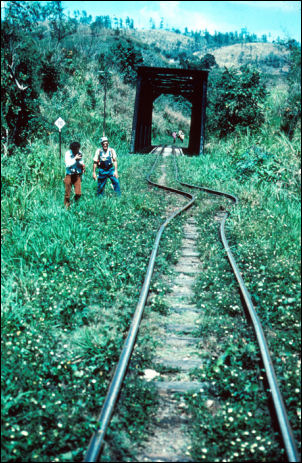 Guatemala, 1976. The motion along the fault line is drawn on the ground. Note the compression of the railway and the perpendicular offset of the rails