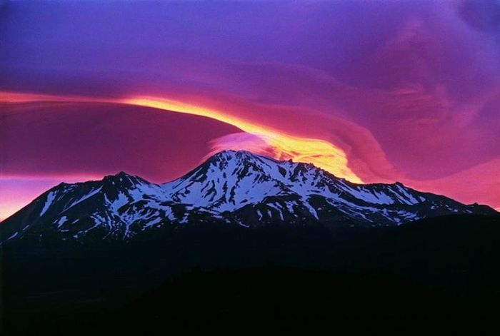 Fig 1. Sunrise at Mount Shasta with the satellite cone Shastina to the left (Wikimedia Commons)