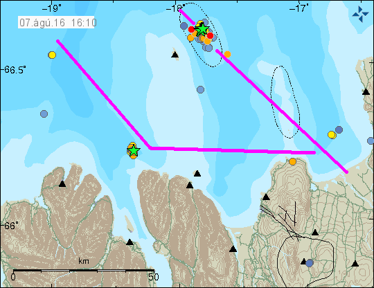 The IMO map for the TFZ today with the approximate outline of the fault lines added for clarity.