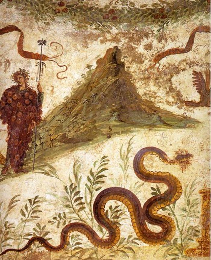 Vesuvius as it appeared prior to the 79 AD eruption as depicted in a mural discovered in Pompeii.