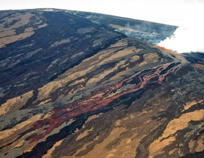 This is the same 1984 eruption out of Mauna Loa. It is just taken from a different angle. Now the real size of Mauna Loa is easier to understand. Photo courtesy of Hawaii Volcano Observatory.