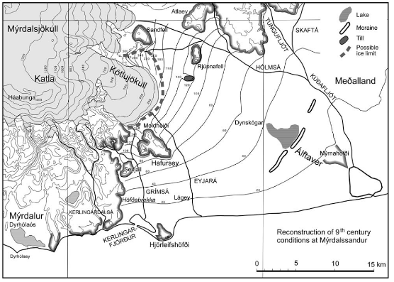 Likely topography before the Eldgja eruptions. Source: The Myrdalsjokull Ice Cap, Iceland: A. Schomacker (ed), Developments in Quarternary Science, 13 (2010)
