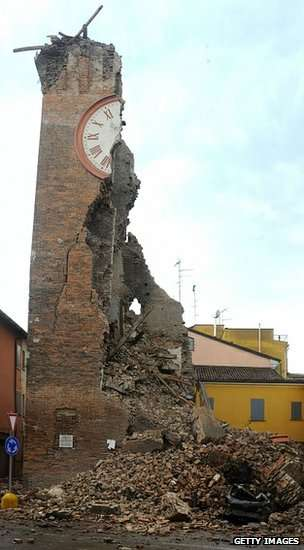 The clock tower of Finale Emilia, destroyed in two earthquakes near Bologna in 2012