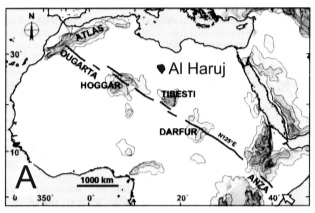 The regional setting with the Ti Besti line transecting Northern Africa.