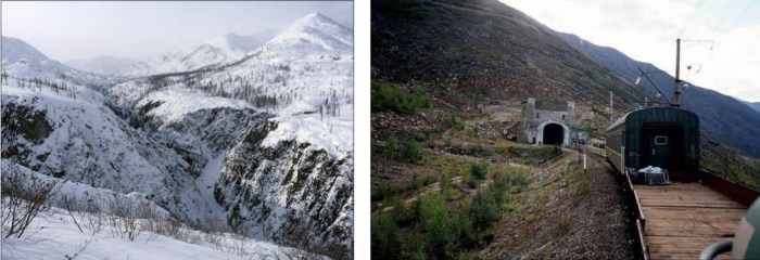 Left: The Udokan mountain ridge. Right: The Severomuysky Railroad Tunnel, the largest in Russia. Pictures: Dmitry Shevtsov, Russian Railways. Source: the Siberian Times