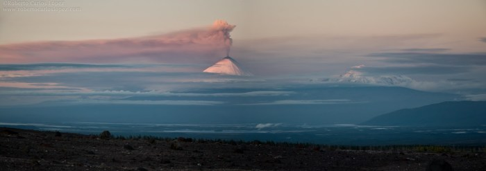 "Fantastic panorama of Klyuchevskoy and Ushkovsky volcano from the ""Shiveluch desert"""