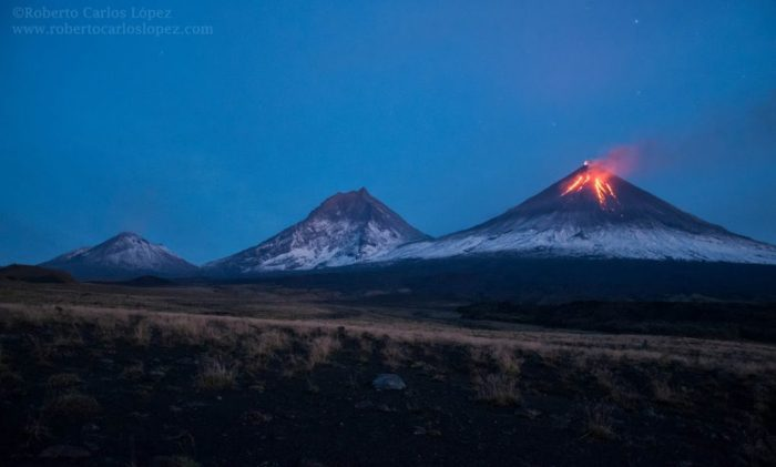 Volcano Panorama. From left to right: Bezymianny, Kamen and Klyuchevskoy from Apakhonchich, 2016. Photo by Roberto C. Lopez (www.robertocarloslopez.com)