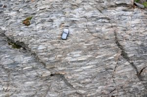 The pebbles in this rock have been stretched under extreme pressure. From www.travelinggeologist.com