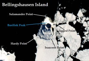 Satellite image of Bellingshausen Island. IMAGE: Landsat 8/EOS Data Analytics. Annotated by René Goad.