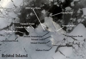 Satellite image of Bristol Island. IMAGE: Landsat 8/EOS Data Analytics. Annotated by René Goad.