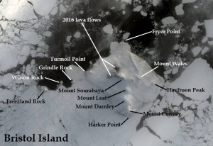 Satellite image of Bristol Island. IMAGE: Landsat 8/EOS Data Analytics. Annotated by René Goad.