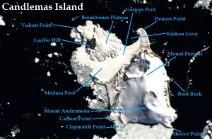 Satellite image of Candlemas Island. IMAGE: Landsat 8/EOS Data Analytics. Annotated by René Goad.