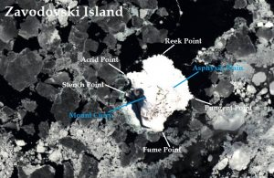 Satellite image of Zavodovski Island. IMAGE: Landsat 8/EOS Data Analytics. Annotated by: René Goad.