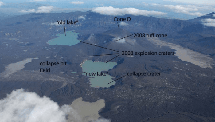 The caldera after the 2008 eruption, with the main sites labeled. The new tuff cone has an 800-m crater at the summit. Source: http://www.alaskageology.org/documents/0809/AGSJanuary08AbstractNeal.pdf