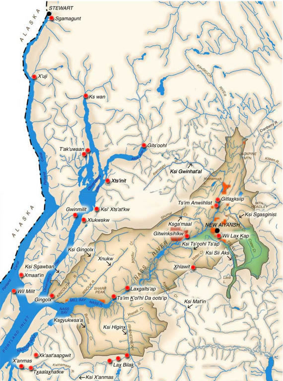 The Nisga's land, centred on the Nass River. The lava bed memorial park is in green.