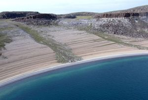 Raised beaches due to glacial rebound, in Nunavut, Canada.