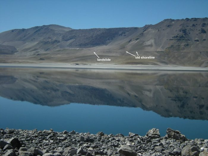 Laguna del Maule. The horizontal lines are the old shore lines. The shore has been uplifted by 75 meter (source: Brad Singer)