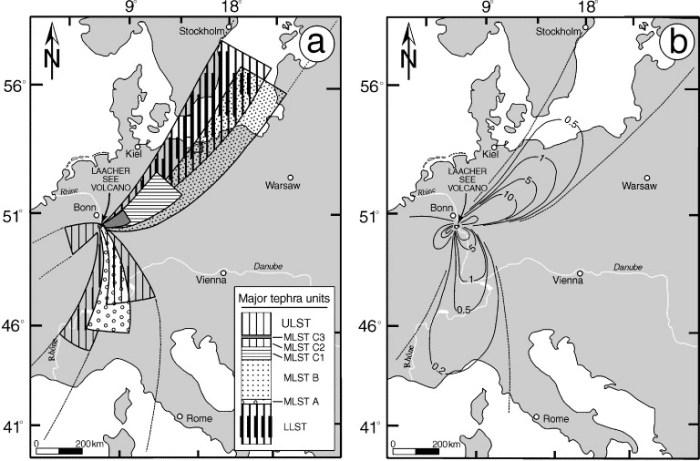 Dispersal of the Laacher See tephra over Europe. © Hans-Ulrich Schmincke.