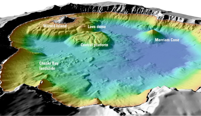 Topographical map of the Crater Lake caldera showing the features of subsequent intra-caldera eruptions. (USGS)