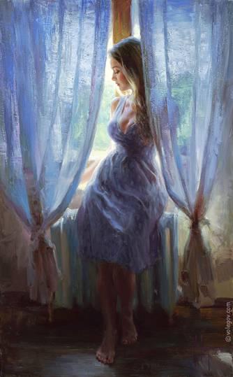 SITTING ON THE WINDOWSILL, painting
