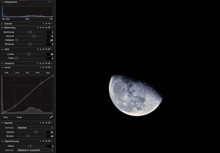 Mondfotografie-RAW-Entwicklung