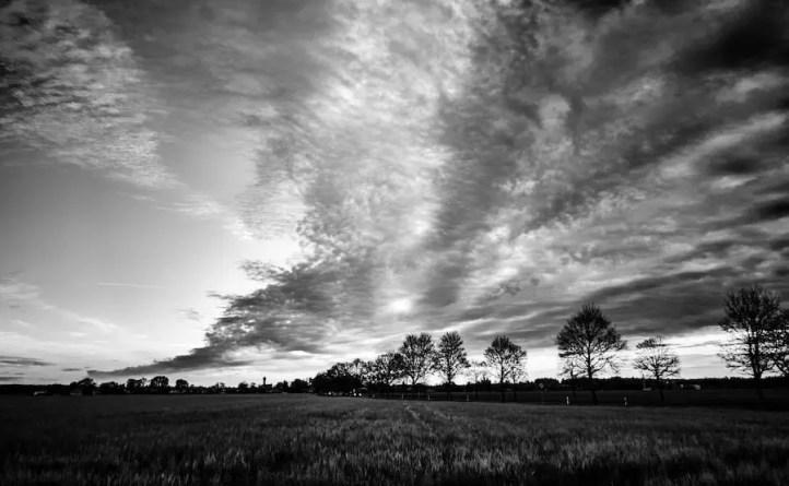 Sommerwolken in Schwarz-Weiß